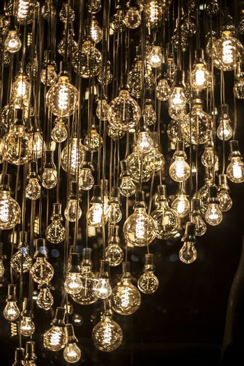Group of hanging filament lamps