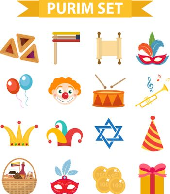 Happy Purim carnival set of design elements, icons.  Jewish holiday, isolated on white background. Vector illustration clip-art