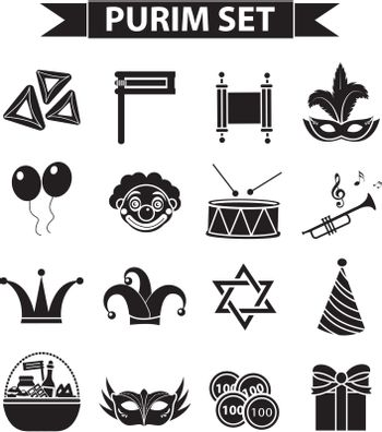 Happy Purim carnival icons set, black silhouette style. Jewish holiday collection signs, symbols, isolated on white background. Vector illustration clip-art
