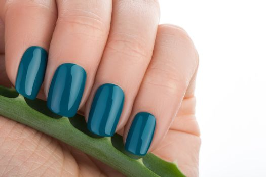 Nice and neat green nails.