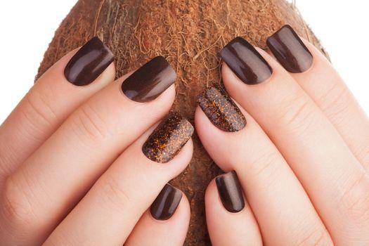 Brown nails .
