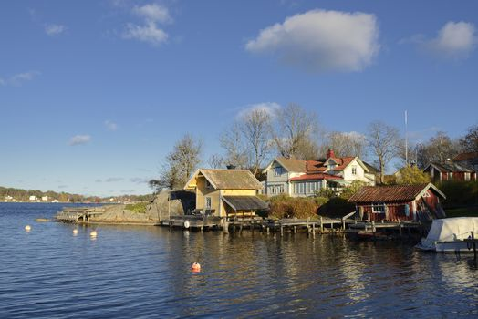 House in Vaxholm. Vaxholm a Swedish city in Stockholm archipelago.