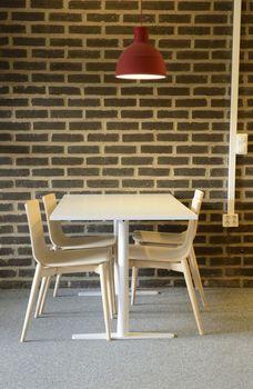 An empty cafeteria interior shot.