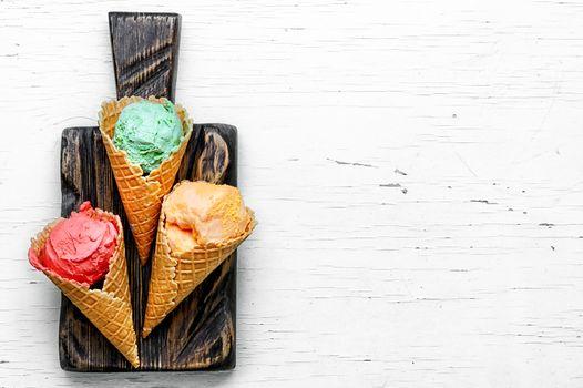 Assortment of ice cream sundae