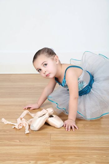 Toddler dancer in costume at dance studio
