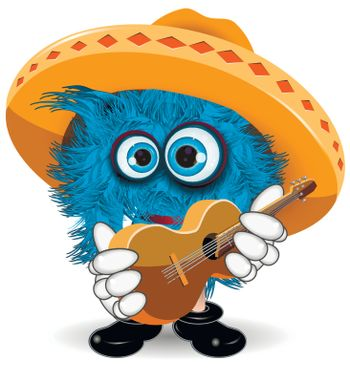 Illustration Blue Monster in Sombrero with Guitar