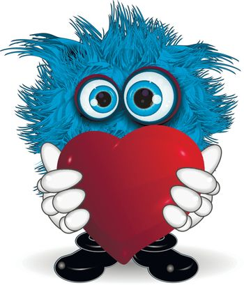 Illustration Blue Monster Keeps Red Symbol Heart