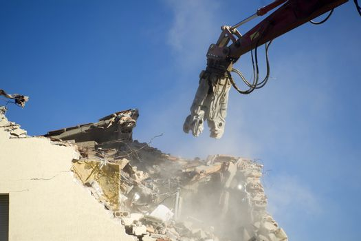 The controlled demolition of a house