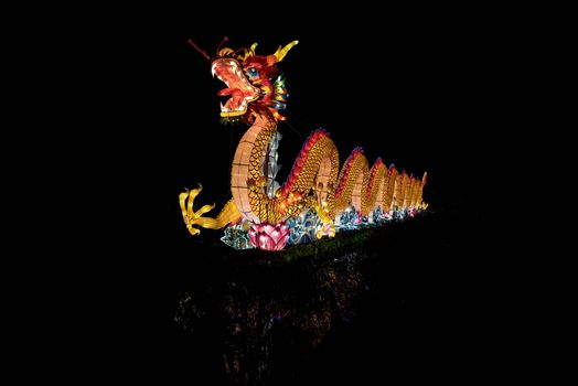 A colorful chinese drangon lit for the new year