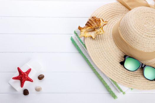 Beach accessories background