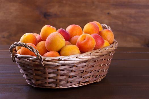 Apricots in a wicker basket