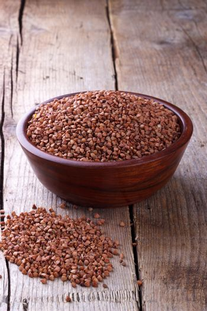 Dry buckwheat in a bowl