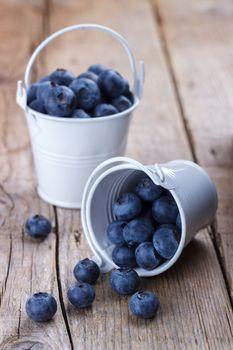 Ripe blueberries in a bucket