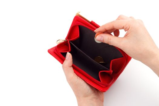 Coints in the red wallet