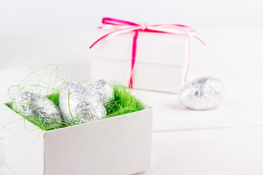 Easter chocolate eggs in a gift box