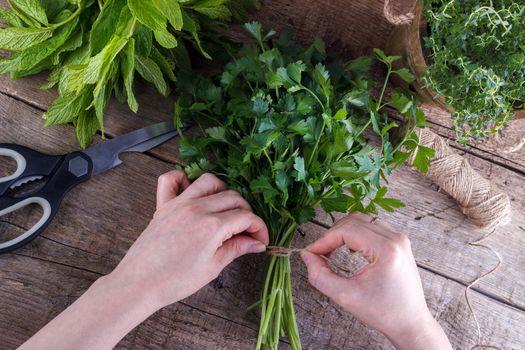 Gardener with herbs