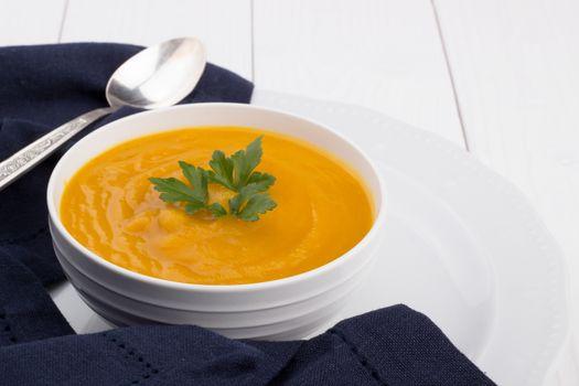 Pumpkin soup in a bowl
