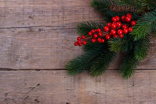 Pine branch with Christmas berries