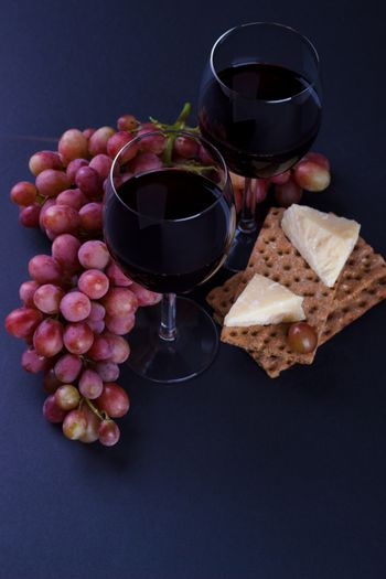 Red wine and snack