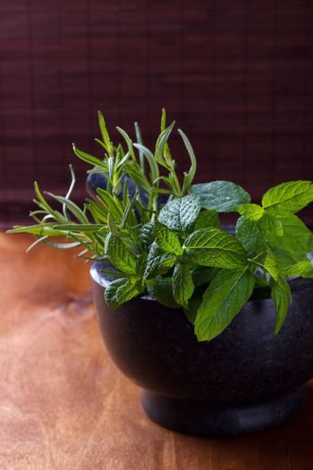 Bunch of mint and rosemary