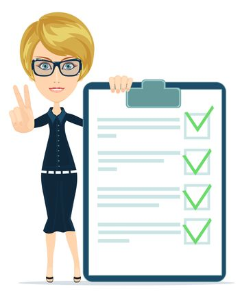 funny businesswoman with checklist