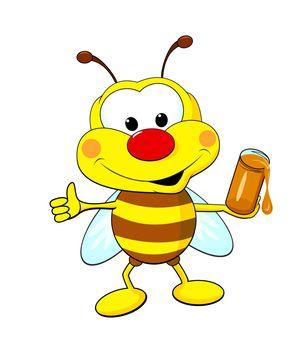 Funny cartoon bee holding a jar of honey.