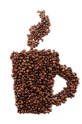Coffee beans in the form of a cup