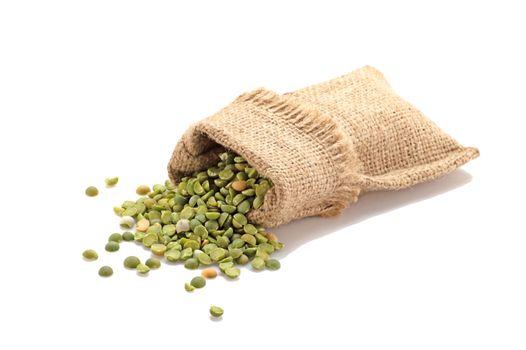 Green peas in a burlap