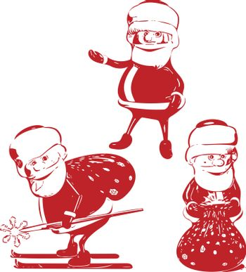 Illustration Three red Santa Claus in Various Poses