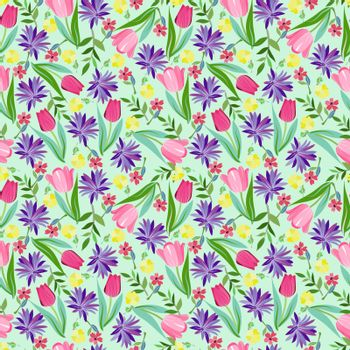 Vector summer fashion background, Floral seamless pattern texture with with bright summer flowers for romantic design, decoration, greeting cards, posters, invitations, advertisement.