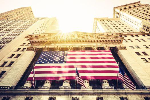 Wall Street New York Stock Exchange Entrance, USA.