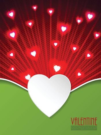 Valentine day greeting card with bursting red hearts