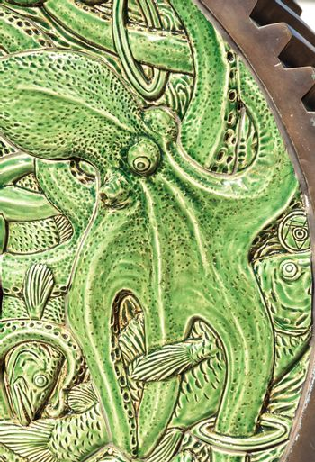 Green Ceramic nautical octopus pattern background