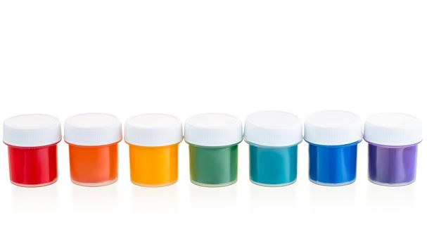 Jars with a paint gouache set in a row isolated