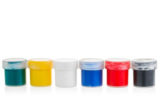 cans of gouache isolated for children's creativity
