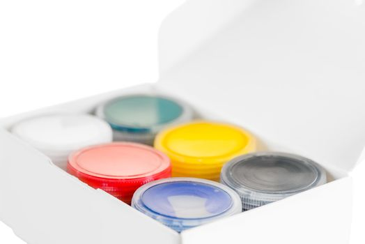 gouache box set of 6 cans isolated