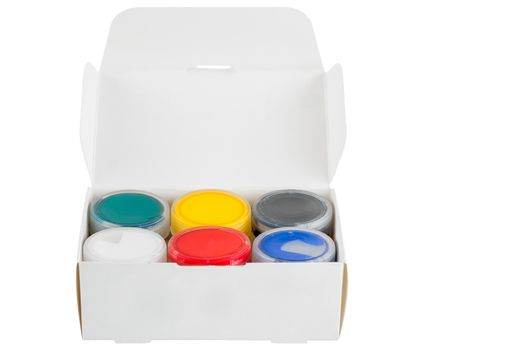 box with 6 colors of gouache colors on a white background isolat