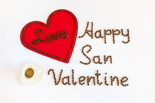 Happy San Valentine with love and a cup of coffee