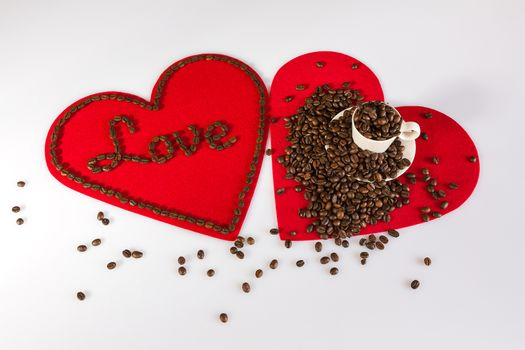 Two hearts and coffee beans