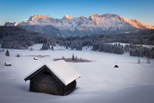 Geroldsee at wintertime, Bavarian Alps, Germany