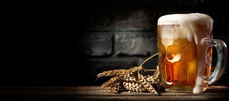 Beer in mug on table