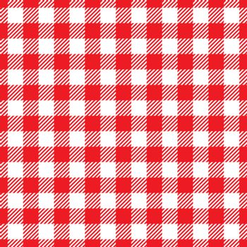 Seamless Red White Traditional Gingham Pattern Fabric Texture for Design
