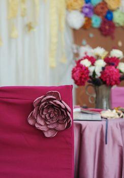 Beautiful decor for a wedding celebration in a restaurant