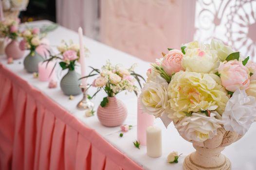 Beautiful decor for a wedding celebration in restaurant.