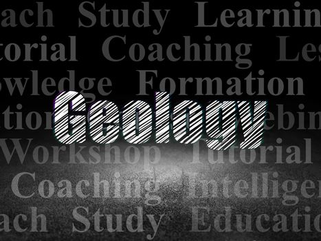 Learning concept: Geology in grunge dark room