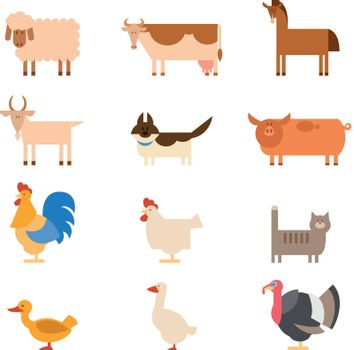 Vector image of a collection of farm animals
