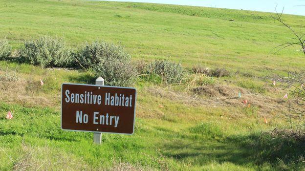 Sign Sensitive habitat no entry