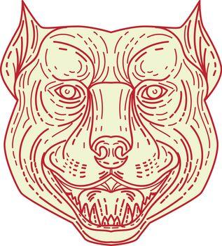 Pitbull Dog Mongrel Head Mono Line