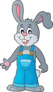 Happy bunny in overalls