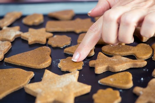Partial view of woman touching raw Christmas cookies